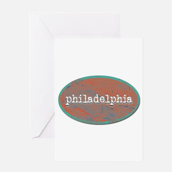Philadelphia rustic teal Greeting Cards