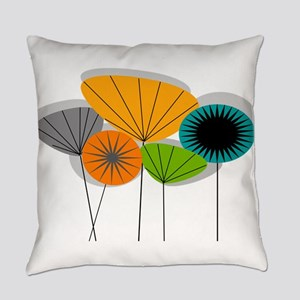 Mid-Century Modern Floral Everyday Pillow