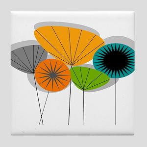 Mid-Century Modern Floral Tile Coaster