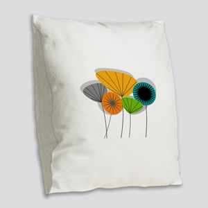 Mid-Century Modern Floral Burlap Throw Pillow