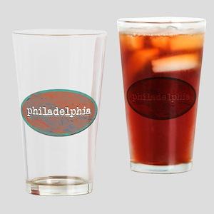 Philadelphia rustic teal Drinking Glass