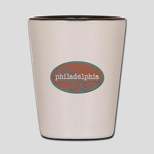 Philadelphia rustic teal Shot Glass