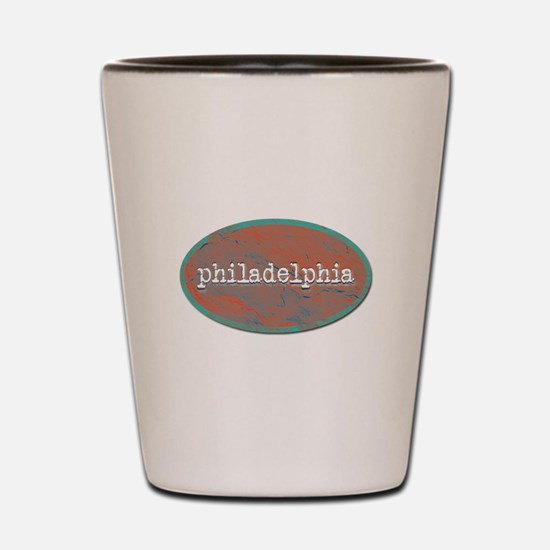 Philadelphia rustic teal Shot Glass