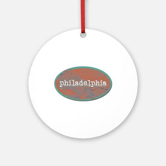 Philadelphia rustic teal Ornament (Round)