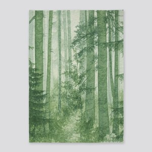 Green Misty Forest 5'x7'area Rug