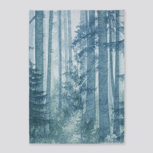 Blue Misty Forest 5'x7'area Rug