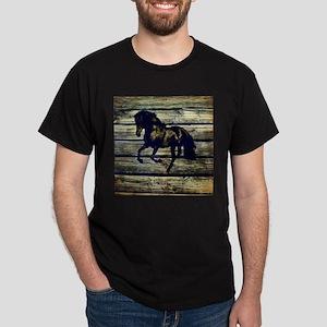barn wood black horse T-Shirt