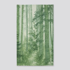 Green Misty Forest Area Rug