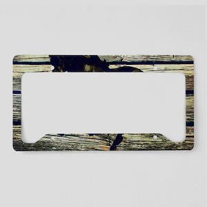 barn wood black horse License Plate Holder
