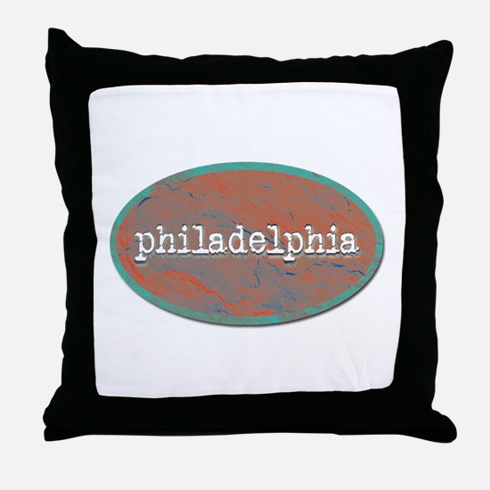 Philadelphia rustic teal Throw Pillow