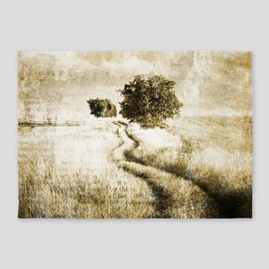 rustic western country road 5'x7'Area Rug