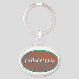 Philadelphia rustic teal Keychains