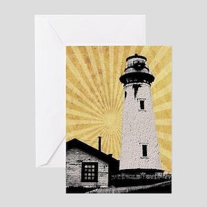 coastal nautical light house Greeting Cards