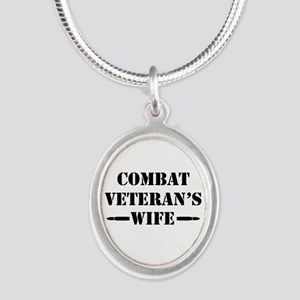 Combat Veteran's Wife Silver Oval Necklace