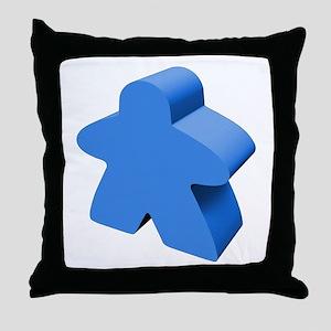 Blue Meeple Throw Pillow