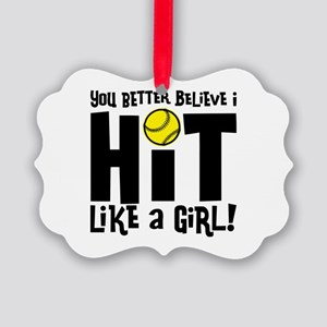 HIT LIKE A GIRL Picture Ornament