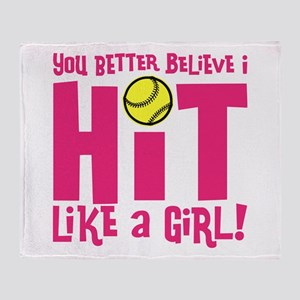 HIT LIKE A GIRL Throw Blanket
