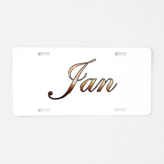 Gold Jan Aluminum License Plate
