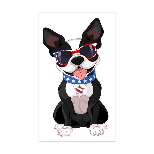 Patriotic Boston Terrier Sticker (Rectangle) by listing-store-129644052