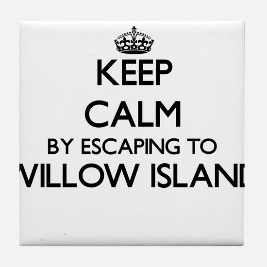 Keep calm by escaping to Willow Islan Tile Coaster