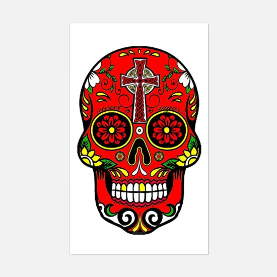 Funny Mexican sugar skulls Sticker (Rectangle)