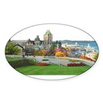 Old Quebec Panoramic View Oval Sticker