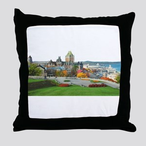 Old Quebec Panoramic View Throw Pillow