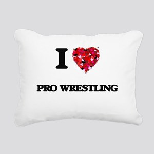 I love Pro Wrestling Rectangular Canvas Pillow