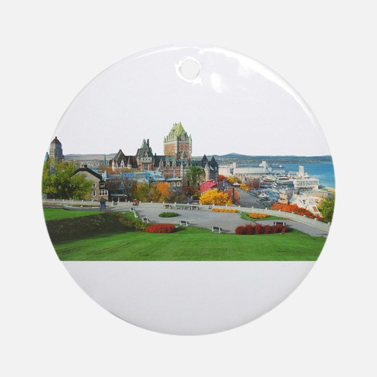 Old Quebec Panoramic View Ornament (Round)