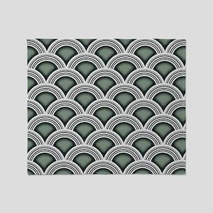 Art Deco Concentric Sage Throw Blanket