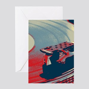 vintage retro record player Greeting Cards