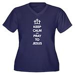 Keep Calm Pr Women's Plus Size V-Neck Dark T-Shirt