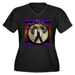 One Nation, Women's Plus Size V-Neck Dark T-Shirt