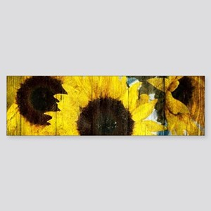 western country yellow sunflower Bumper Sticker