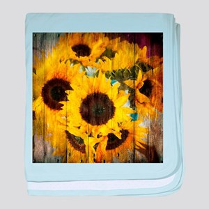 western country yellow sunflower baby blanket