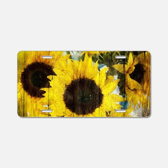 western country yellow sunf Aluminum License Plate