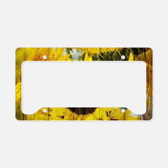 western country yellow sunflo License Plate Holder