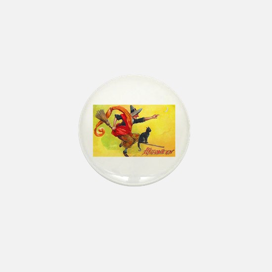 Halloween Witch on Broom Mini Button