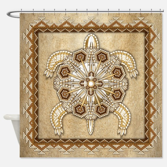 White Native Beadwork Turtle Shower Curtain