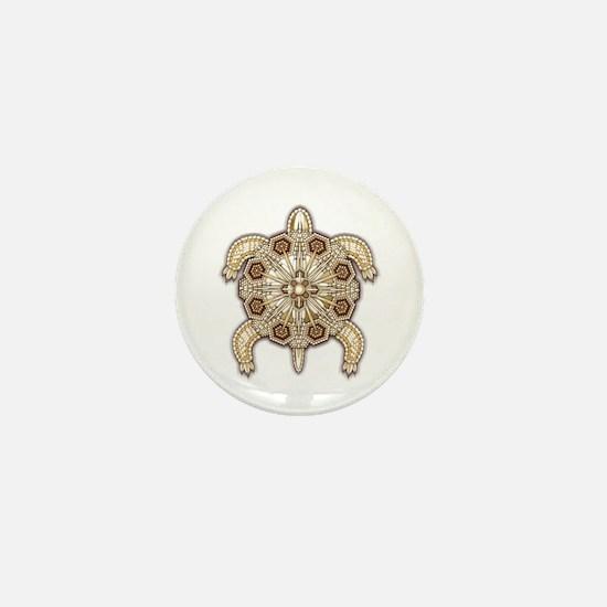White Native Beadwork Turtle Mini Button