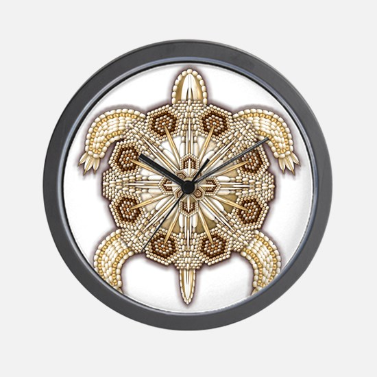 White Native Beadwork Turtle Wall Clock