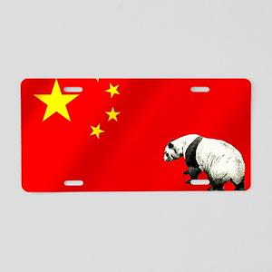 Chinese Panda Flag Aluminum License Plate