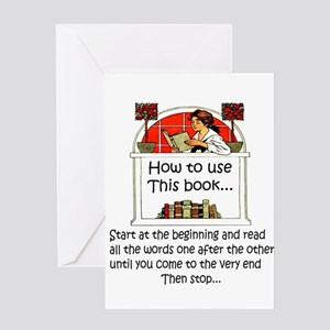 Avid reader greeting cards cafepress how to use this book greeting cards m4hsunfo Images