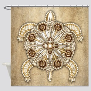 White Native Beadwork Turtle Shower Curtain