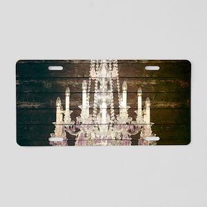 rustic barn wood chandelier Aluminum License Plate