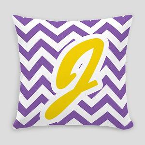 Purple Chevron - Gold J Everyday Pillow