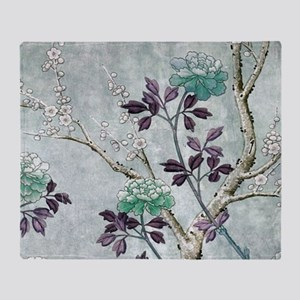 Asian Flowers Throw Blanket