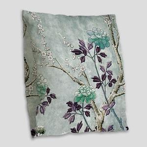Asian Flowers Burlap Throw Pillow