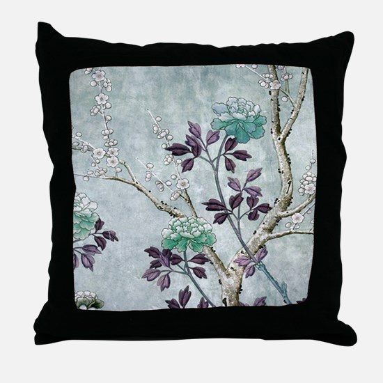 Asian Flowers Throw Pillow