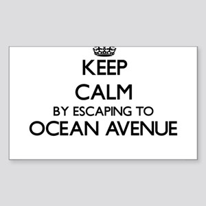 Keep calm by escaping to Ocean Avenue Mass Sticker